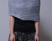 Hand knitted Little cotton poncho grey knit scarf knit shrug