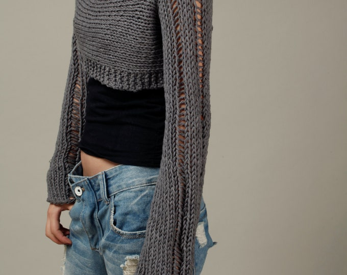 Hand knit woman cropped sweater Little shrug cover up cotton charcoal sweater top-ready to ship