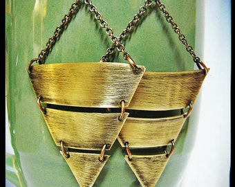 Geometric Brushed Brass Triangle Earrings