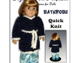 Knitting Pattern, Bathrobe for American Girl and 18 inch dolls. Housecoat.  PDF, 110
