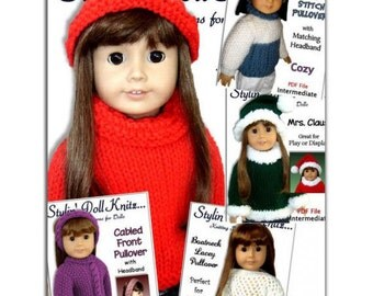 Knitting Patterns, fits American girl and 18 inch doll, knit clothes, Sweaters, PDF File
