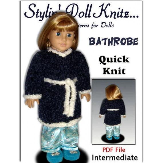 Knitting Pattern, Bathrobe for American Girl and 18 inch dolls. Housecoat.  PDF, 110