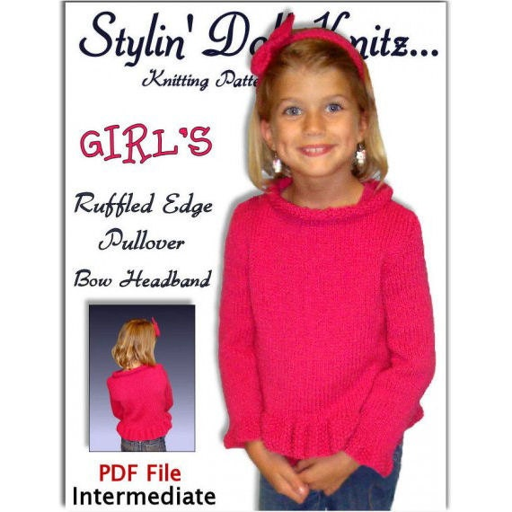 Girl's Sweater Pattern, Knitting. Bow Headband. Childrens Pullover PDF Instant Download