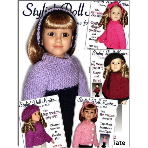 Knitting Patterns, Fit My Twinn Doll (My BFF), Doll clothes, 23 inch. Instant Download