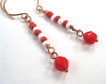 Red White Christmas Earrings, Peppermint Candy, Long Boho Dangle Earrings, Holiday Jewelry, Funky Earrings