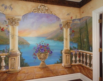 Estimate For Custom Mural, Mediterranean Mural, Decorative Painting,  Italian Murals, Custom Wall Part 74