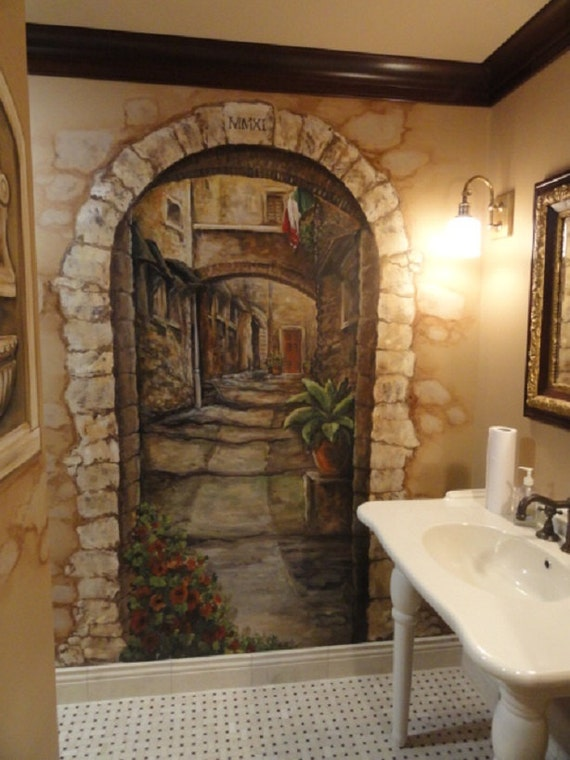 Custom mural cortona italy art italian mural by mariasideasart for Custom mural painting