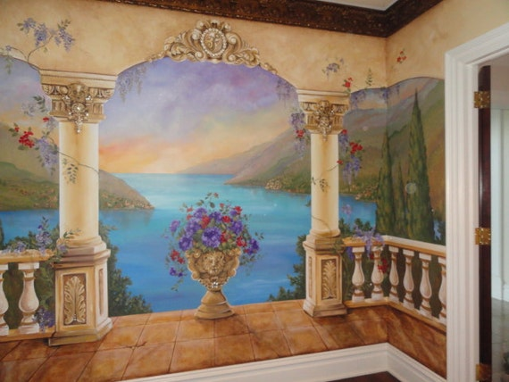 Custom mural mediterranean mural decorative by mariasideasart for Bedroom mural painting