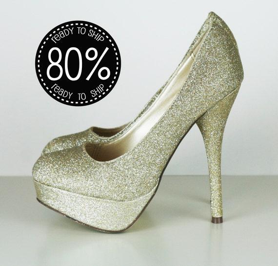 80% Off Gold Glitter High Heels, Platforms, Bridal Sparkle PUMPS size 7.5