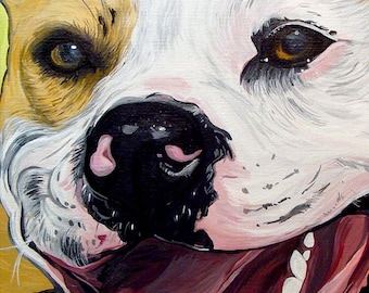 PIT BULL dog art print yellow bright colors 5x7