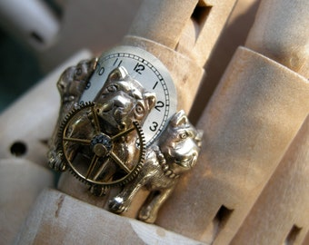 Steampunk Watch Dog Ring