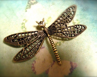 Large Dragonfly Brooch with Crystal Eyes