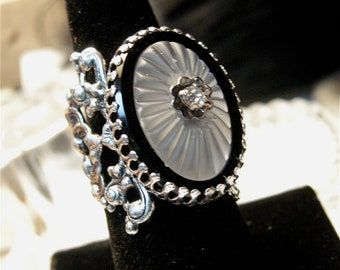 Silver Filigree Ring with Sunray Crystal Stone and Rhinestone Center
