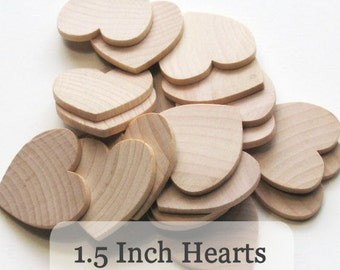 Unfinished Wooden Hearts - 1.5 inch - Pack of 100