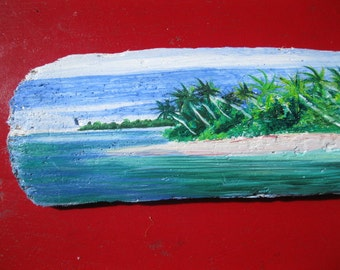 Drift Wood Wall Decor - Tropical Painting- Beach Scene -Home Decor- Office decor-Costal dECOR