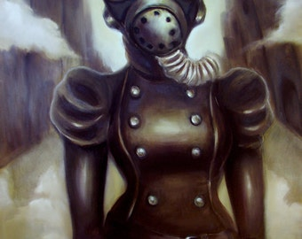 Masked by Elizabeth Caffey. One of a kind original Sci-Fi oil painting on stretched canvas
