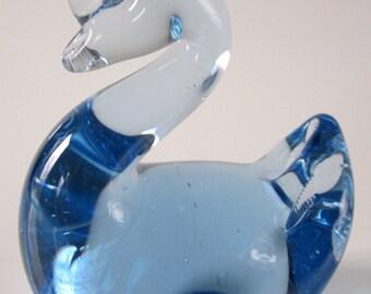 Art Glass Swan Paperweight Figurine Viking Like Syle Vintage