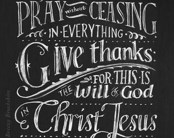Rejoice Evermore - Chalkboard Art Print Bible Verse - 8x10