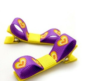 Tuxedo Hair Bows, Hearts Hair Clips, Purple and Yellow, Baby, Toddler, Girls, Lakers Colors