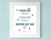 Love me Tender, Love me Sweet, Never let me go- Elvis Presley Subway art print- 8x10