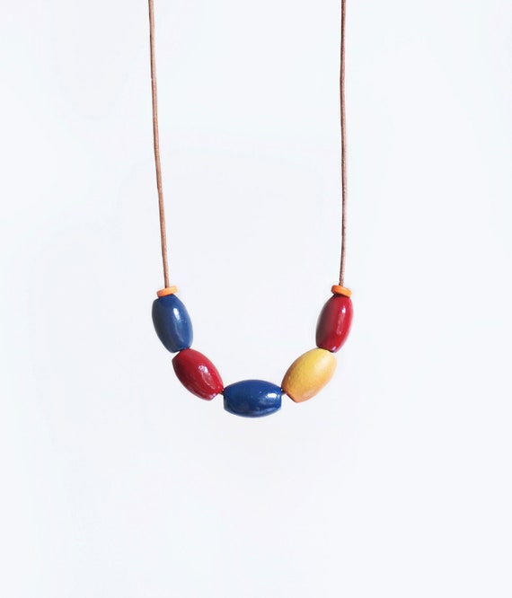 Wooden Boho Necklace / Colorful / Bold Necklace