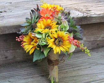 Succulent and Sunflower Bridal Bouquet, Example Only!! DO NOT PURCHASE