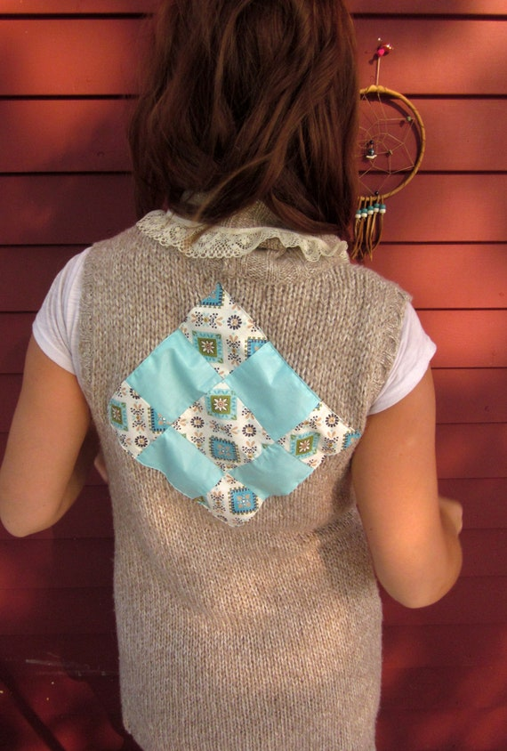 Shabby Chic and Lace Patchwork Applique Upcycled Sweater Layering Long Wrap Vest Size Small/Medium By MountainGirlClothing