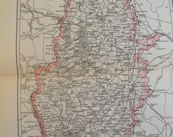 1896 English County Map - Nottingham - Vintage Antique Map Great for Framing 100 Years Old
