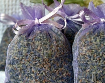 ORGANIC LAVENDER Sachets- Set of 25 w/ refresher oils, FRAGRANT Lavender buds Sachets/favors, lavender filled organza bags Lavendar Sachet
