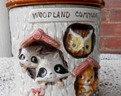 Woodland Cookie Jar / Vintage Wooldand Commune Cookie Jar / Vintage Marks and Rosenfeld Cookie Jar