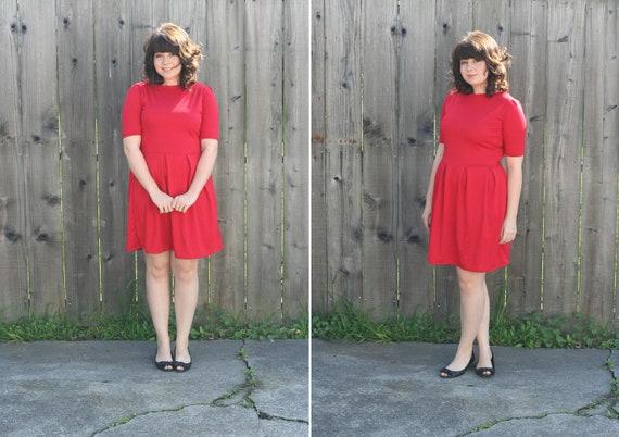 1950's Red Dress- Long Sleeve Winter Fashion- 3/4 sleeve Pleated Jersey Dress