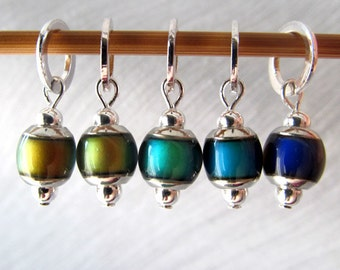 The Secret of the Chromastone - Five Color Changing Mood Stitch Markers - Fits 5.0mm (8 US) To 6.0mm (10 US) - Open Edition