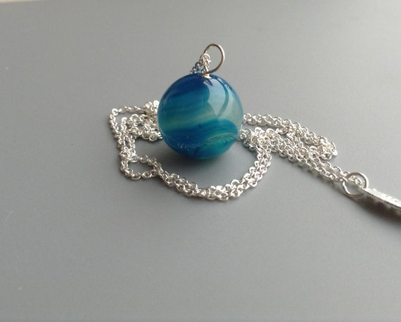 Blue Agate Necklace - Pendant on Silver Chain