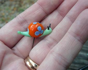 SALE Fairy garden accessories, small glass snail, fairy garden, miniature snail for fairy garden, fairy garden supply, garden