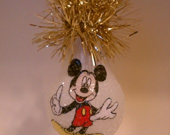 Mickey Mouse handmade light bulb ornament