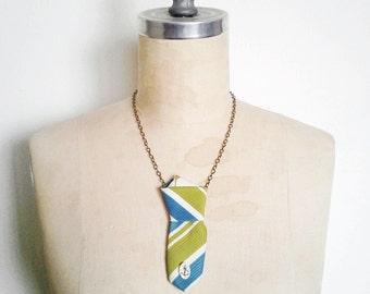 The Ex Boyfriend Necklace, Vintage Silk Neck Tie Necklace in Blue and Green Stripe