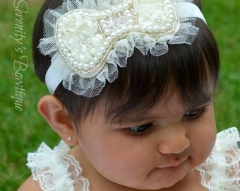 Vintage Fancy Pearl Rose Mesh Tulle Ivory bow headband Baptism Christening Communion Headband