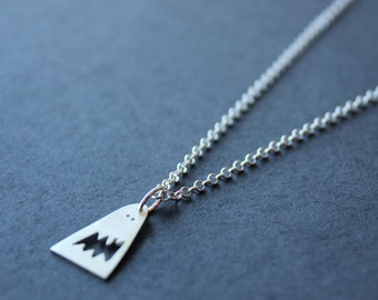 Happy little monster necklace. Sterling silver. Handmade. Contemporary design. Halloween.