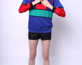 1980s Taylor Crayola Colorblock Sweatshirt with Quilted Pattern S / M