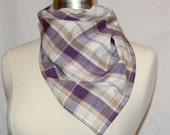 Reserved for Caitlin  - Large plaid bandana scarf - Purple/brown madras cotton