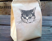 Lunch Bag, Eco Friendly Cat Lunch Bag with kitty design, Recycled Cotton Canvas Snack sack rope handle, velcro, and silver glitter ink