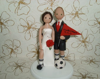 Custom Bride & Groom Soccer wedding Cake Topper