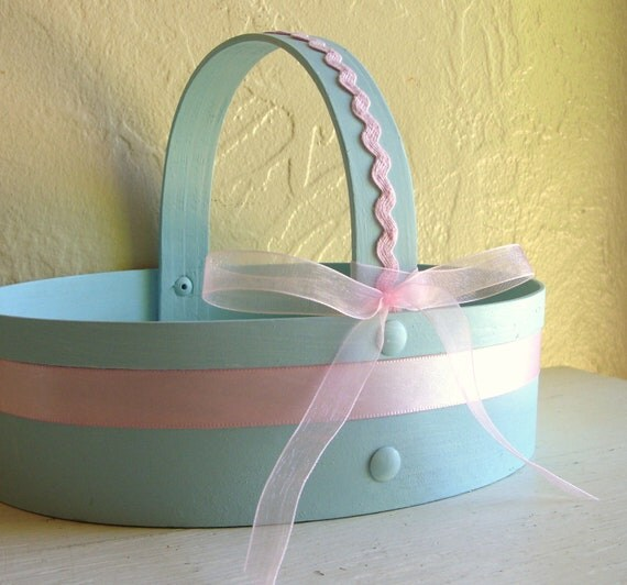 SALE Pretty Light Blue Wooden Flower Girl Basket with Pink Ribbon Accents