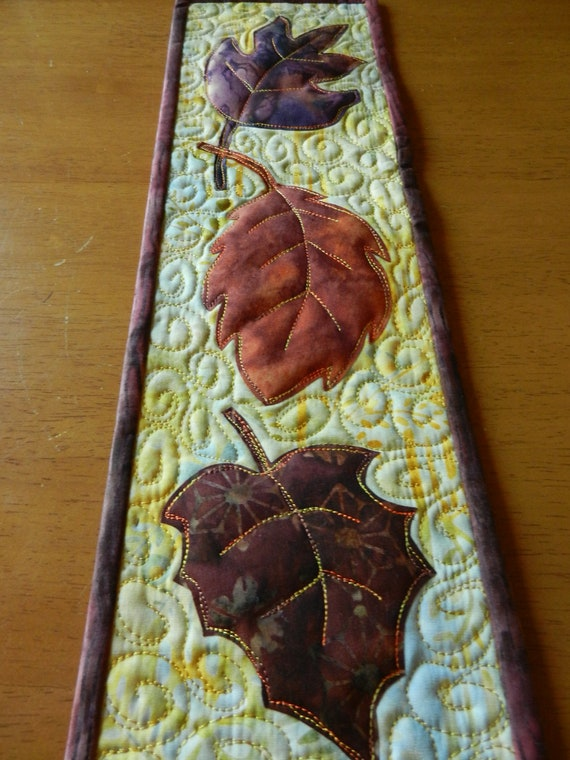 Batik Leaf Wall Hanging, Quilted Leaf Wall Hanging, Skinny Wall Hanging 5x17""
