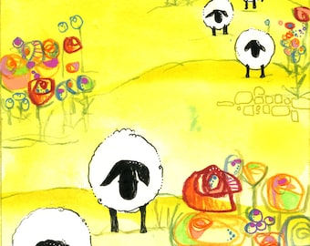Vermont Sheep Landscape Art Print Whimsical Yellow Night Sky Painting