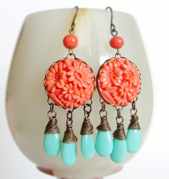 RESERVED Carved Floral Glass Chandelier Earrings Japanese Stones Orange Aqua Flower