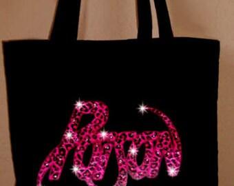 Poison Band Concert Rhinestone Crystal Pink Leopard Tote Bookbag Rhinestone Crystal Tote Book Bag
