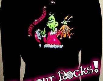 Grinch The Grinch GrinchmasChristmas  Rhinestone Crystal Tee T Shirt Long Sleeve Glamour Glamour Rocks