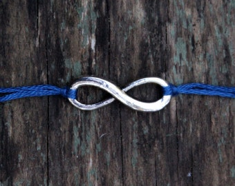 best friend gift mother's day friendship bracelet navy embroidery thread bracelet silver infinity jewelry nautical wishlet summer fashion