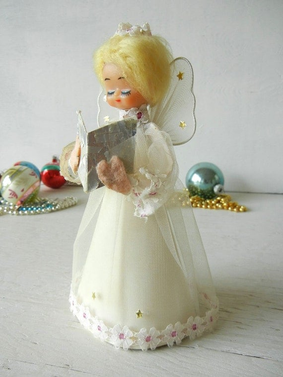 Vintage Christmas Angel Tree Topper In White And Gold